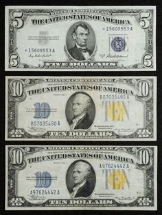 "Lot 1: 1934-A $10 ""North African"" VF; (2) notes; together with a 1953-A $5 Silver Certificate Star Note AU"