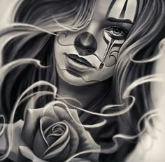 Chicano Drawings Of Roses chicano Chicano Tattoos, Chicano Drawings, Tattoo Drawings, Body Art Tattoos, Tattoo Girls, Girl Tattoos, Tatoos, Catrina Tattoo, Clown Tattoo