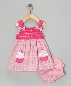 Pink Cupcake Dress & Diaper Cover - Infant ~$11.99 by 'Baby Basics Collection'