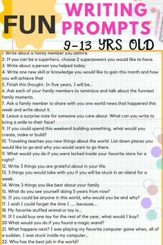 Are you looking for writing prompts for middle school children? Or maybe just looking for writing prompts to get children interested in creative writing? Middle School Writing Prompts, 6th Grade Writing, Writing Lessons, Kids Writing, Teaching Writing, Writing Skills, How To Teach Writing, Teaching Themes, Middle School Ela