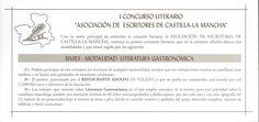 """Bases del I Concurso Literario """"Asociación de Escritores de Castilla-La Mancha"""" en la modalidad de literatura gastronómica. Cuenca, 2004. #Cuenca #Libros #AsociacióndedeEscritoresdeCastillaLaMancha"""