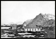 Henningsvær kirke,ingen dato.. Sandbox, Mount Everest, Explore, Mountains, Nature, Painting, Travel, Litter Box, Naturaleza