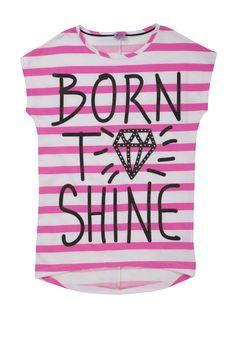 F Neon Stripe Born To Shine Boxy T-Shirt
