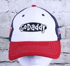 14c5acf497c Go Daddy 2014 Nascar Danica 10 Strapback Trucker Hat Ball Cap Red White Blue