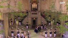 Guests leave the Royal Chapel in the Royal Palace, in Stockholm, following the wedding of Princess Madeleine on 06/08/13.