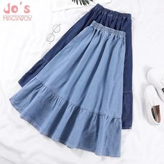 Denim Skirts Women Solid Color Long Spring Summer A-Line High Waist Female Long . - Denim Skirts Women Solid Color Long Spring Summer A-Line High Waist Female Long Skirt Plus Size Cas - Skirt Outfits, Cute Outfits, Cheap Skirts, Jeans Rock, Plus Size Skirts, Plus Size Casual, Mode Hijab, Preppy Style, Denim Fashion