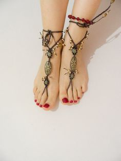 tribal sandals beach wedding gold anklet hippie by MJewelryDesgn, $25.00