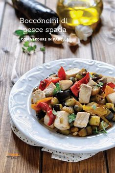 Italian Recipes Swordfish morsels with pan-fried vegetables … Fried Vegetables, Kung Pao Chicken, Pork Chops, Italian Recipes, Fries, Low Carb, Vegetarian, Tasty, Lunch