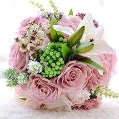 [€ 39.47] Gorgeous Round Satin/PE/Rhinestone/Silk linen Bridal Bouquets/Bridesmaid Bouquets (123090513)
