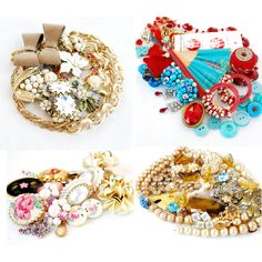 Vintage jewelry bundles, perfect to wear, craft with or resell! A lovely destash of kitchy earrings, necklaces, bracelets, brooches!