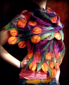 scarf wool and silk wool painting by FireFlyFelt on Etsy