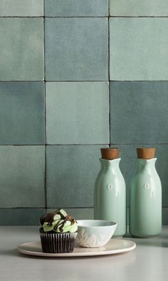 rustic or farmhouse inspired wall tiles from Decobella Artisan Green with numerous shades makes this tile perfect as a focal feature. Green Tile Backsplash, Kitchen Splashback Tiles, Green Tiles, Bathroom Interior Design, Kitchen Interior, Kitchen Decor, Interior Ideas, Feature Tiles, Style Tile