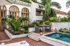 Casa San Agustín is a hotel located in the UNESCO World Heritage town of Cartagena de Indias, in Colombia.  Its three buildings are constructed in the Colonial style, with white-washed walls and rich wood-beamed ceilings.
