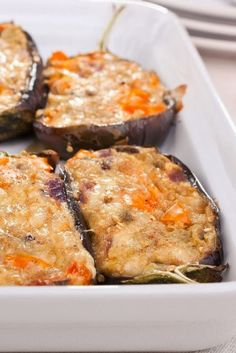 Stuffed Eggplant Parmesan ~ What an easy and delicious recipe! It tasted like something you would get a restaurant, it was fairly healthy, and filling! The only thing I will change next time is microwaving the eggplant shells beforehand to make them a little more tender.