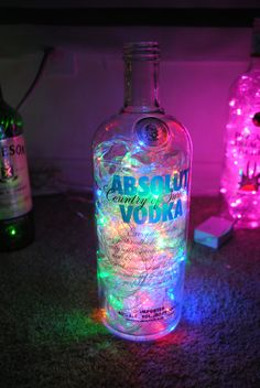 Absolut Vodka Bottle with Multicolored LED Lights