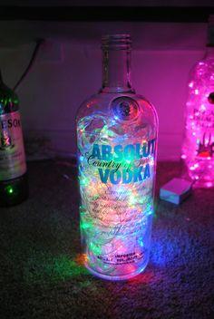 Absolut Vodka Bottle with Multicolored LED Lights