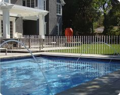 Pool Fence Ideas (For Inground and Above ground pool) Mesh Pool Fence, Aluminum Pool Fence, Swimming Pool Designs, Swimming Pools, Small Greenhouse, Greenhouse Ideas, Greenhouse Gardening, Backyard Layout, Waterfall Features