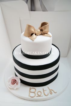 Black and white stripe cake by Hall of Cakes London