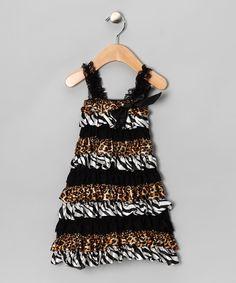 Black Zebra & Cheetah Lace Ruffle Dress - Infant, Toddler & Girls