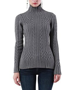 Rocorose Womens Cable Knit Long Sleeves High Neck Pullover Sweaters Gray S *** You can find more details by visiting the image link. (This is an affiliate link)