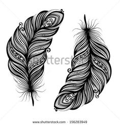 Peerless Decorative Feather (Vector), Patterned design, Tattoo - stock vector
