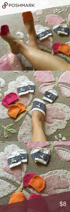 Bundle of 4x pairs of CUTE toe toppers Great condition NWOT Super cute and comfy cotton toe toppers in pink, orange and two black & white snoopy  4x Pair Toe Toppers Socks great for wearing with uncomfortable shoes!!!   Got them all from Germany H&M Accessories Hosiery & Socks