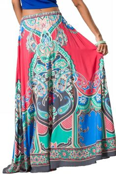 Flying Tomato Sexy Coral Ethnic Tribal Full Length Long Boho Gypsy Maxi Skirt S - Skirts