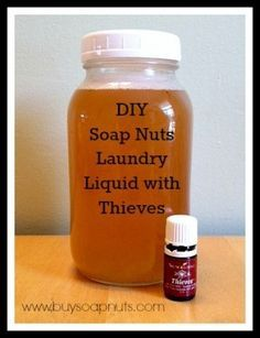 Make your own Thieves Laundry Detergent with Soap Nuts Liquid. Via http://www.buysoapnuts.com #youngliving #thievesoil #laundry #soapnuts