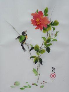 aquarelle,papier de riz,peinture chinoise,abby,oiseau,fleur,xie yi,spontané,aquarelle chinoise,nature