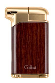 Colibri Pacific Pipe Lighters in Wood Grain & Gold Tone Finish