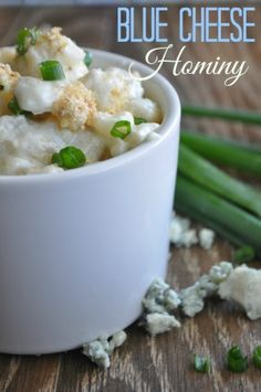 Comfort food at it's finest!! Blue Cheese Hominy. Gluten Free!! So scrumptious and cheesy! Must try this recipe. |House of Yumm|