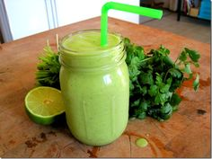 Pineapple Coconut Lime Cilantro Smoothie (+banana)