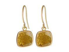 18K Gold Yellow Diamond Slice Earrings