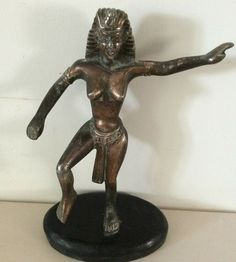 A vintage Art Deco Bronze Statue of the Egyptian Goddess Ishtara pagination & stand is of ebonised wood. Spanish Gypsy, Mythical Dragons, Art Nouveau, Art Deco, Egyptian Goddess, Home Decor Styles, Vintage Art, Bronze, Brass