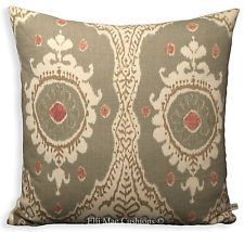 Lewis and Wood Ikat Bukhara Linen Designer Fabric Cushion Pillow Cover Green 20