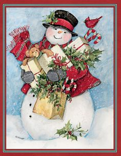 Susan Winget — Candy Cane Snowman & Santa Assorted Christmas Card (698x900)
