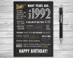25th Birthday Printable Card 5x7 Folded Many Years Ago 1992 by NviteCP