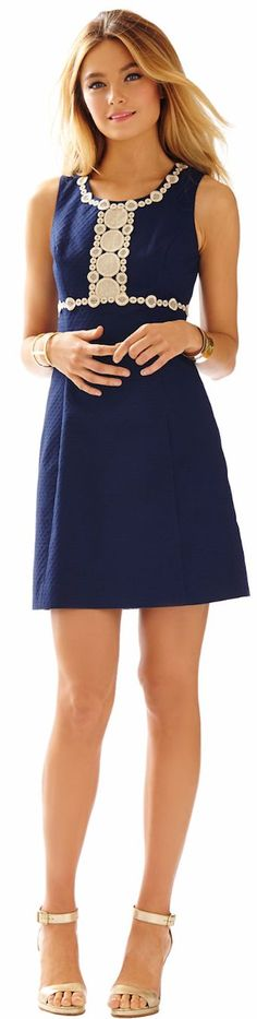 LILLY PULITZER ROSIE LACE DETAIL SHIFT DRESS TRUE NAVY