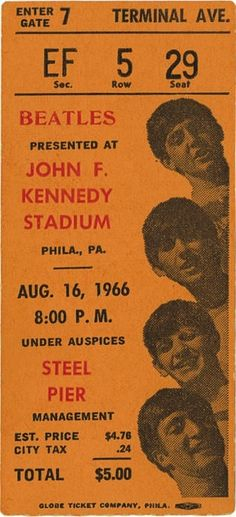 The Beatles concert ticket at John F. Kennedy Stadium, August 1966.