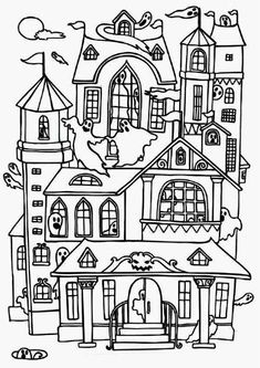 Spooky Mansion Coloring Page | Printables | Halloween ...