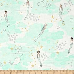 Michael Miller Sarah Jane Magic Metallic Mermaid Magic Mist from @fabricdotcom  Designed by Sarah Jane for Michael Miller Fabrics, this whimsical collection is perfect for quilting, home decor accents and apparel. Colors include mint, white, grey, black, brown and natural with gold metallic accents.