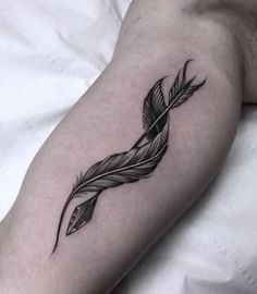 arrow that turns right into a feather tattoo - Google Search.... See more by going to the image link