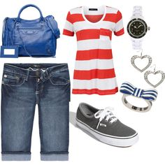 red, white stripes + Vans <3  (imagine with the red sparkly Vans ahhh )