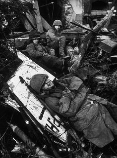 Soldiers rest on the German Front. Rhone Valley, 1945.  Toni Frissell