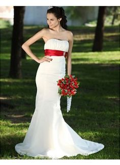 Cute Trumpet/ Mermaid Sweetheart Court Train Satin Draped Beach Wedding Dress