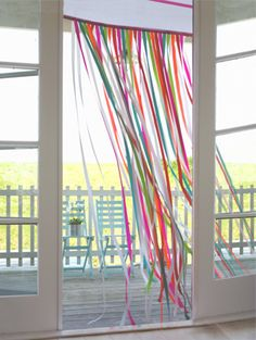 ribbon doorway curtain - great idea for birthdays Ribbon Curtain, Ribbon Backdrop, Ribbon Garland, Garlands, Streamer Decorations, Lace Ribbon, Doorway Curtain, Colorful Curtains, Art Party