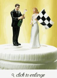 Bride at Finish Line with Victorious Groom Figurine Set - Funny Wedding Cake Toppers - Funny Wedding Cake Ideas - Funny Wedding Cakes