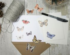 Butterfly stickers - set of stickers - butterfly drawing stickers - watercolor butterflies - watercolour animals - butterfly illustration