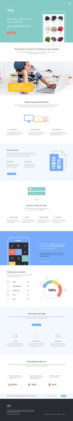 Mo is a WordPress theme for promoting an app, business or portfolio site