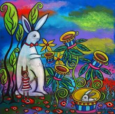 "Unexpected Tea Time 16"" x 16"" acrylic available  Juli Cady Ryan"